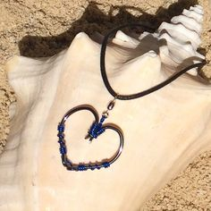 The REAL Fish HOOK HEART Necklace Blue on Black Hooks
