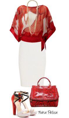 Blusa pañuelo roja falda blanca al cuerpo sandalias haciendo juego