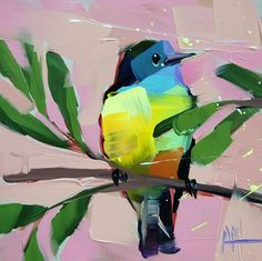 Tropical Kingbird original bird oil painting by Angela Moulton