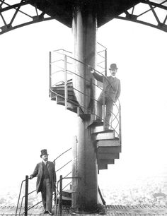 Gustave Eiffel on original spiral staircase of the Eiffel Tower.