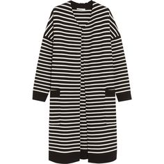 Maje - Oversized Striped Knitted Cardigan ($302) ❤ liked on Polyvore featuring tops, cardigans, black, over sized cardigan, oversized striped top, oversized tops, maje top and maje