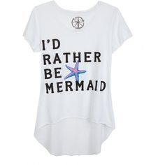 I'd Rather Be A Mermaid Tee ($6.99) ❤ liked on Polyvore featuring tops, t-shirts, shirts, mermaid, graphic tees, graphic print t shirts, graphic design tees, graphic design t shirts and graphic tops