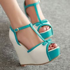 New-Womens-Wedge-High-Heels-shoes-Open-Toe-Sandals-Ankle-T-strap-Pumps-Bowknot