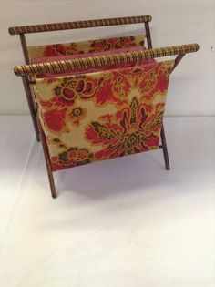 No. 4  Vintage Folding Sewing / Knitting / Crocheting Fabric Basket Tote with Wood Frame Turned Handles Craft Yarn Portable