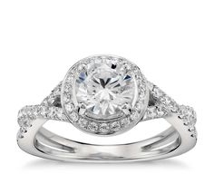 Monique Lhuillier Twist Halo Engagement Ring in 18k White Gold