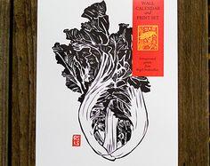 Asian Vegetable Letterpress 2015 Wall Calendar and Print Set