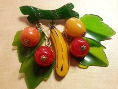 Vintage BAKELITE rare mixed fruit dangling brooch