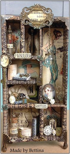 Letterbak - Wandbord - Vitrinekast *Shadow Box - Configuration Box ~Thema: Mode / Haute Couture~