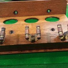 Oak 3 clip antique snooker cue rack.B559a. | Browns Antiques Billiards and Interiors.