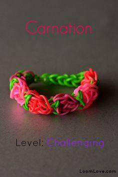 How to make a Carnation Bracelet - Rainbow Loom video tutorial