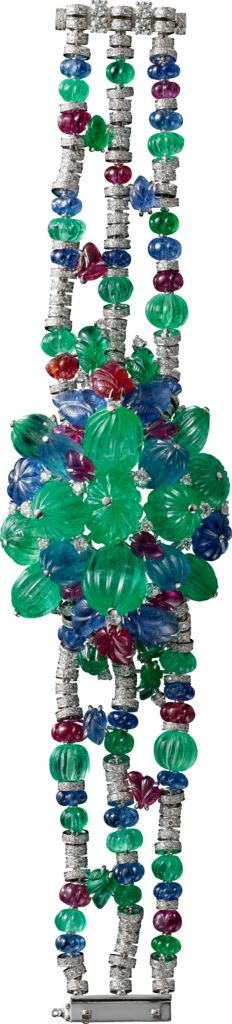 Cartier. Bracelet - white gold, cabochon emerald, sapphire and ruby beads, carved emeralds, sapphires and rubies, brilliant-cut diamonds.