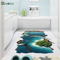 Creative 3D Animal World Cute Floor wall Stickers Novelty Living Room Decal Removable False window  Waterproof Home Decor