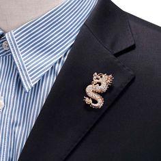Mens Handmade Dragon Lapel Pins Tie Pin Suit Brooch