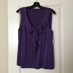 Halogen sleeveless work top Brand new, tag still on. Great for business attire. 93% silk, 7% spandex. Left side zipper. Halogen Tops Blouses