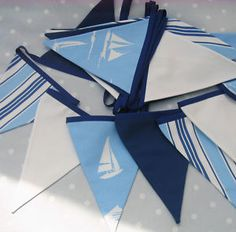 Stunning seaside-themed bunting using Clarke & Clarke and Prestigious fabrics and machined on to royal blue bias binding. Nautical Baptism, Nautical Bunting, Nautical Fashion, Nautical Style, Fabric Bunting, Crafty Craft, Deco, Christening, Baby Items
