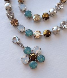 "Swarovski Crystal Necklace  -  ""Pacific Dream""  - Pacific Opal, Swarovski Pearls, & Golden Hues"