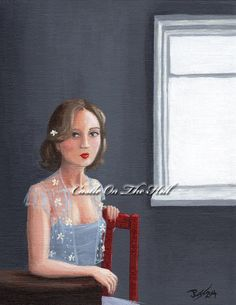 Eloise and the Red Chair ...  Original painting by CastleOnTheHill, $89.00 #originalpainting #art #portrait