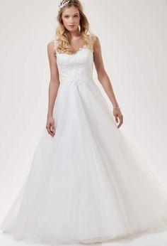 Brautkleid aus Tüll und Spitze mit Schleppe