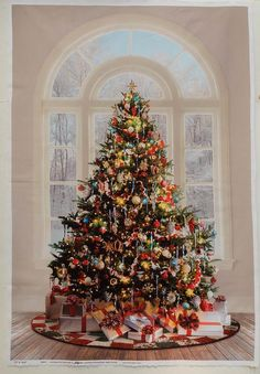 Christmas Tree Panel, Quilting Fabric from Hoffman R4571 MULTI - 30\ panel, full width of fabric (WOF), 43-44\