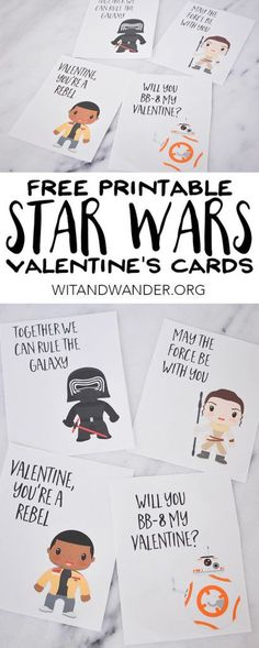 Everyone loves Star Wars! So, your kids are sure to love these Free Printable Star Wars: The Force Awakens Valentines Day Cards! With their favorite characters like Rey, BB8, Finn, and Kylo Ren, both boy and girl Star Wars Fans will love giving these Valentine's Day cards to their friends, class, and teachers! | Wit & Wander