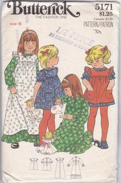 1970's Vintage Sewing Pattern for Children, Little Girl's Dress, Butterick 5171
