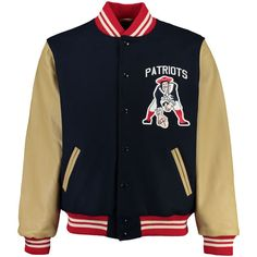New England Patriots Mitchell & Ness NFL Wool/Leather Varsity Jacket - Navy