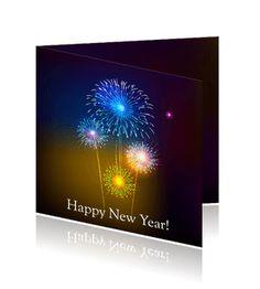 Kerstkaarten met vuurwerk en gelukkig nieuwjaar. Een mooie ouderwetse kaart om te versturen.