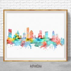 Houston Skyline Houston Texans Houston Print by ArtPrintZone