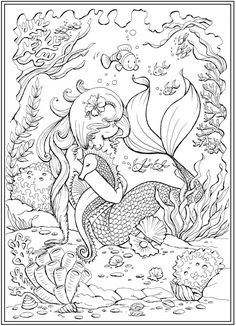 From: Little Mermaid Friends Coloring Book, by Teresa Goodridge Adult Coloring Pages, Mermaid Coloring Pages, Pattern Coloring Pages, Cute Coloring Pages, Disney Coloring Pages, Coloring Pages To Print, Coloring Pages For Kids, Coloring Books, Kids Coloring