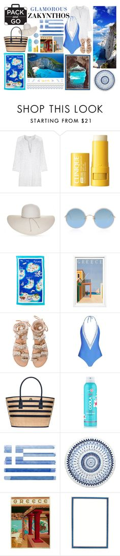 """Pack & Go ~ Zakynthos"" by meimeidarling ❤ liked on Polyvore featuring Miguelina, Clinique, Nine West, Sunday Somewhere, Ralph Lauren, William Stafford, Elina Linardaki, Tory Burch, COOLA Suncare and Parvez Taj"