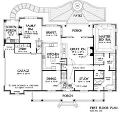 First Floor Plan of The Eastlake - House Plan Number 1256 3154 sqft Dream House Plans, House Floor Plans, My Dream Home, House Worth, Entry Stairs, Kitchen Floor Plans, Farmhouse Plans, House Layouts, Architecture Plan