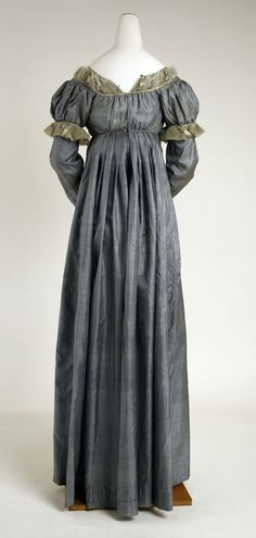 From 1810 to 1820 dresses became slightly more structured with padded hems and firmer fabrics, such as twills and even some taffeta. Soft colors returned to fashion after a 10-year absence. Sleeves began to grow fuller at the shoulder and high waists endured throughout this period but lowered slightly as the years went by.
