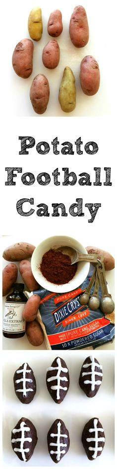 Classic Potato Candy is flavored with cocoa and shaped and decorated like footballs for a game-day dessert. Potato Football Candy will be the hit of your football-watching party! #football #footballfood #potatocandy #Shockinglydelicious