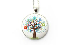 Floral pendant necklace Tree-Of-Life necklace pendant
