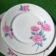 FRENCH ANTIQUE LIMOGES PORCELAIN GOLD TRIM PLATE SET 3 PINK FLOWER ART DECO