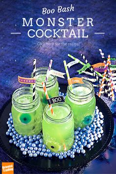 "This Halloween, greet guests at your theme party with a mysterious magic potion. This cloudy concoction has just the right amount of spook and flavor to keep you and your friends dancing every ""witch"" way 'til dawn. In a mason jar, mix 1.5 oz. vodka + .5 oz. Midori melon liqueur + .5 oz. Blue Curacao. Add 3 oz. freshly squeezed orange juice + 3 oz. lemon-lime soda. Complete with gummy eyeballs + body parts + straws. Serve chilled for many-a-thrill!"