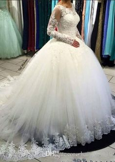 2017 New Sexy Ball Gown Wedding Dresses Jewel Neck Long Sleeves Lace Appliques Crystal Beaded Puffy Tulle Plus Size Formal Bridal Gowns Plus Size Wedding Dress Ball Gowns Wedding Dress 2017 Wedding Dress Online with $203.43/Piece on Haiyan4419's Store | DHgate.com
