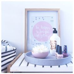 Beauty | Styling instagram.com/mintandfizz #moorecreative #mockaaustralia #jimmystand #zakkiahomewares #countryroadhome #babescrub #styling #vignette #pinkandgrey