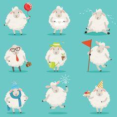 Funny cute little sheep cartoon characters set for label design. Funny Sheep, Cute Sheep, Diy Eid Cards, Diy Eid Decorations, Ramadan, Eid Al Adha Greetings, Sheep Illustration, Sheep Cartoon, Eid Crafts