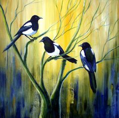 Magpies original acrylic painting on canvas by lavendergeorge, £60.00