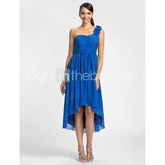[EUR € 65.33] Sheath/Column One Shoulder Asymmetrical Chiffon Bridesmaid Dress