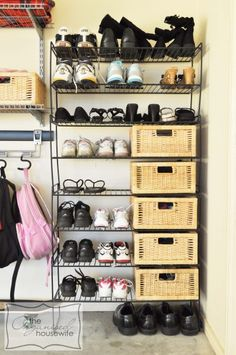 {Inspiration} Shoe Storage - shoes kept in the garage; easy to slip on and off when leaving or arriving home.