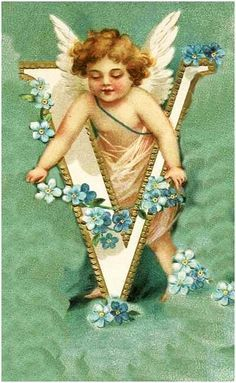 Alphabet with Cherub and Forget-Me-Not Flowers - Google zoeken