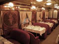 "speciesbarocus:    ""Al Andalus"" Luxury Train.  ""Al Andalus"" is a luxury train that operates through southern Spain. The carriages were built in France between 1929 and 1930 by the Wagon-Lits Company."