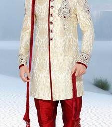 Buy white embroidered brocade sherwani sherwani online