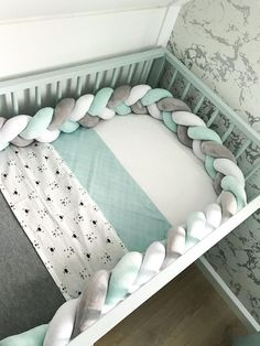 Braided Crib Bumper Braided Crib Bumper,Baby Get a quality product, a shapely and very soft, beautifully braided crib bumper that is made from premium hypoallergenic materials. The crib bumper protects your baby's hands. Baby Bedroom, Baby Boy Rooms, Baby Room Decor, Baby Boy Nurseries, Baby Cribs, Nursery Room, Nursery Decor, Nursery Ideas, Budget Nursery