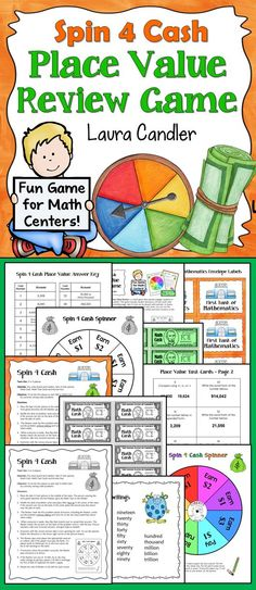 Your kids won't want to stop playing Spin 4 Cash Place Value Review! Perfect for math centers and cooperative learning teams!