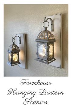 Farmhouse Hanging Lantern Sconces   Gray Hanging Lantern Sconces. I really love these! #farmhouse #farmhousestyle #farmhousedecor #home #homedecor #rusticdecor #lanterns #sconces #etsy #etsyfinds #affiliatelink