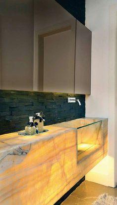 LED Light Shines Through A White Onyx Countertop, Illuminating The  Petrified Wood Sink Above It. | Countertops: Bathroom | Pinterest |  Countertop, Sinks And ...