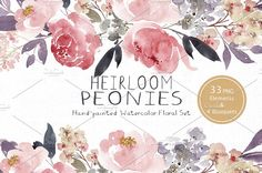 Heirloom Peonies - Watercolor Floral by SmallHouseBigPony1 on @creativemarket